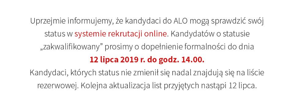 Rekrutacja 2019 - ogłoszenie